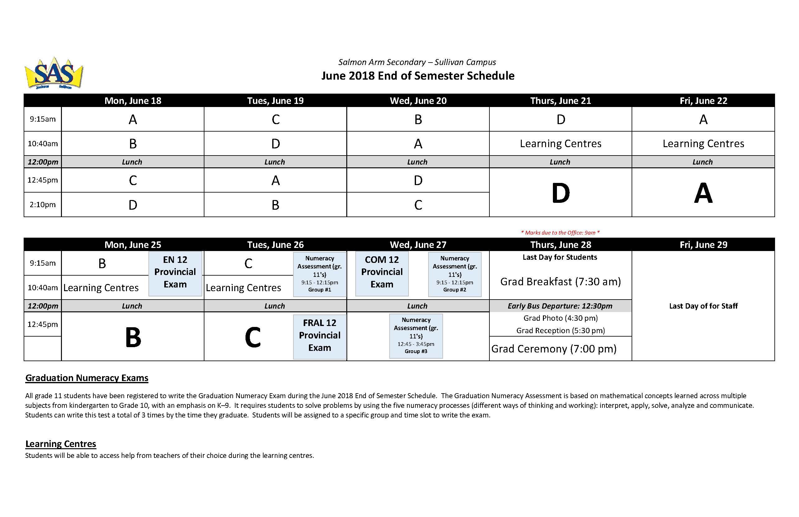 2018-06 Exam Schedule